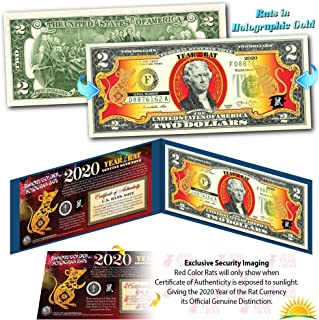 2020 Chinese Lunar New Year U.S. Two-Dollar Bill GOLD HOLOGRAM YEAR OF THE RAT Blue Folio