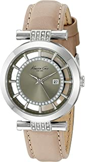Kenneth Cole New York Women's 'Transparency' Quartz Stainless Steel and Leather Dress Watch, Color:Beige (Model: 10021104)