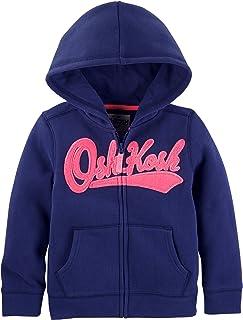 OshKosh B'Gosh Girls' Toddler Full Zip Logo Hoodie, Navy, 5T