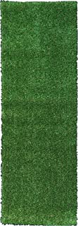 Ottomanson Evergreen Collection Indoor/Outdoor Green Artificial Grass Turf Solid Design Runner Rug, 2'7