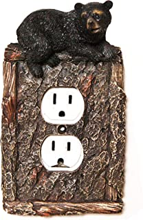 Wooden Black Bear Figurine Double Socket Outlet Cover, for Electrical Wall Plate. Decorate your cabin!