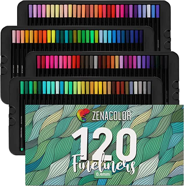 120 Fine Tip Pens, Colored Fine Tip Markers - 120 Unique, 0.4 mm, Fine Point Pens for Diaries, Adult Coloring Books - Felt Tip Pens, Art Supplies Colored Pens for Drawings, Journaling