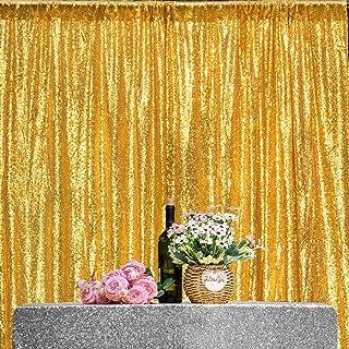 JYFLZQ Pailletten Vorhang, Fotohintergrund für Weihnachten, Hochzeit und Party Dekoration, goldfarben, 122 x 213 cm