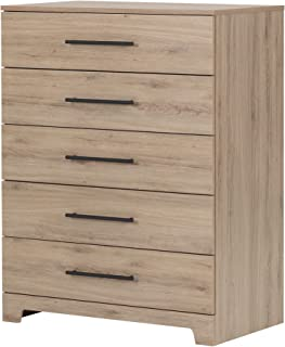 South Shore Primo 5-Drawer Dresser, Rustic Oak with Nickel Finish Handles