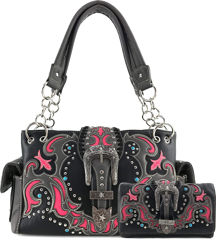 輸入 限定タイムセール Zelris Western Texas Longhorn Buckle Women Conceal Handbag Carry