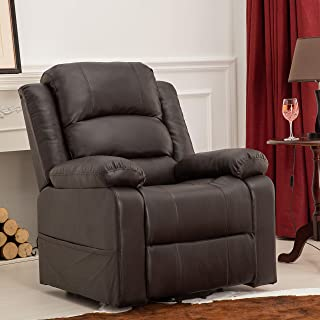 XTWEEX, PU Leather Power Lift Recliner Chair Sofa for Living Room Infinite Positions, Dark Brown