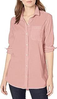 Goodthreads Amazon Brand Women's Lightweight Poplin Long-Sleeve Oversized Boyfriend Shirt, White/Coral Mini-Stripe, X-Large
