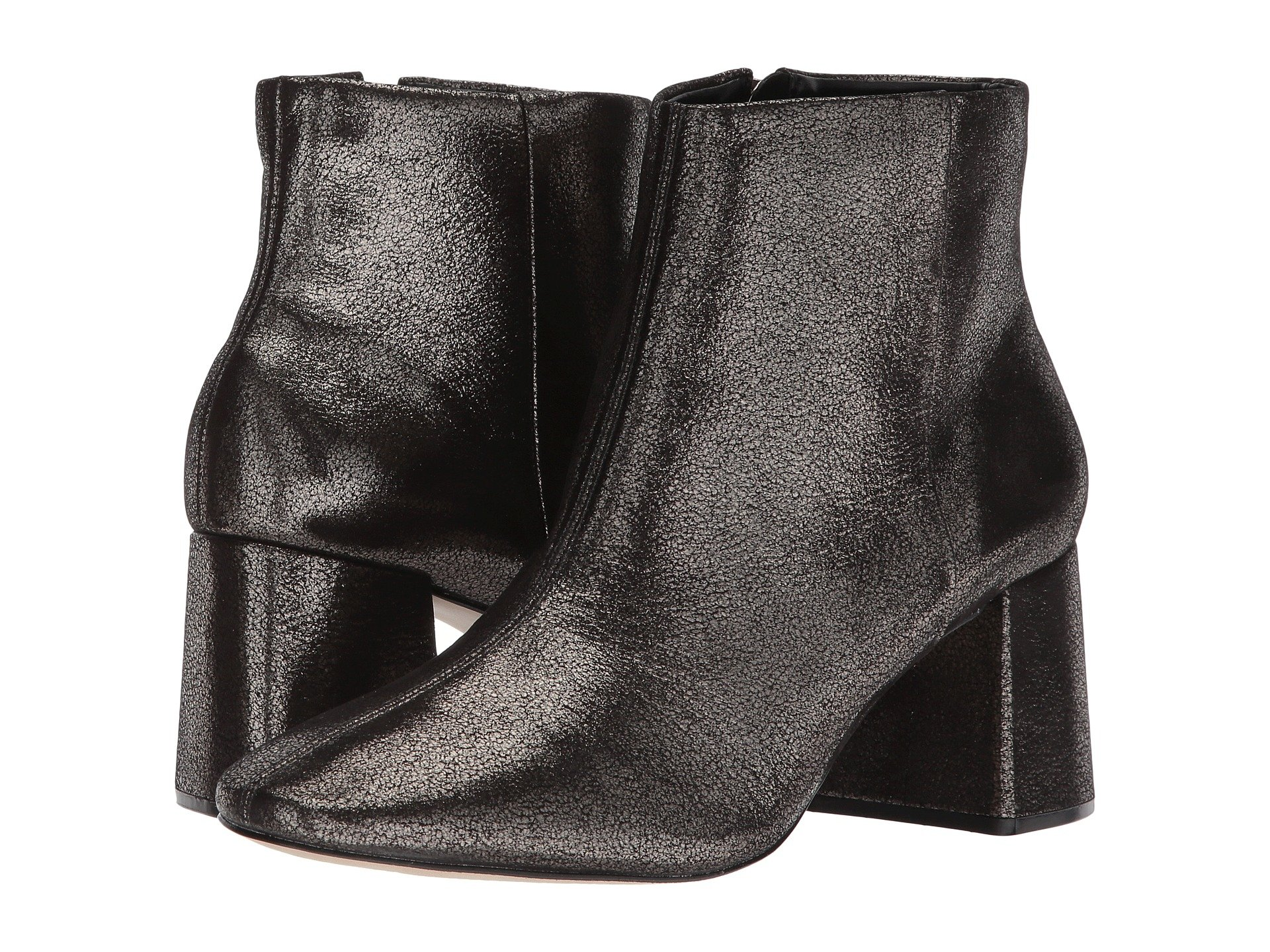 MASSIMO MATTEO Cracked Block Heel Bootie, Pewter