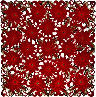 Linens, Art and Things Embroidered Elegant Rich Christmas Red Poinsettia Gold Thread Green Leaves Holiday Doily Small Square Tablecloth Centerpiece 33 Inches Square