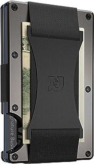 The Ridge Men's Authentic Minimalist Metal RFID Blocking Wallet - Cash Strap | RFID Minimalist Wallet, Slim Wallet Gunmeta...