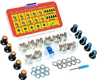Plusivo Potentiometer Assortment Kit - A Set of 1Kohm -100Kohm Multiturn Trimmer, 1Kohm -1Mohm Single Linear-High Precision Variable Resistor with Knobs and Mini Screwdriver