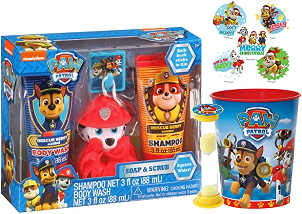 Paw Patrol Marshall 6pc Bath Time Wash Buddy Gift Set Bath Hook Scrubby Shampoo Body Wash Rinse Cup Time To Get Out Bath Timer Plus Bonus Paw Patrol Stocking Stuffer Holiday Stickers