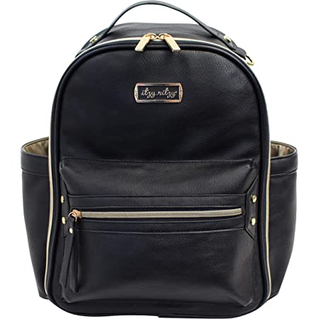 Itzy Ritzy Mini Diaper Bag Backpack – Chic Mini Diaper Bag Backpack with Vegan Leather Changing Pad, 8 Total Pockets (4 Internal and 4 External), Grab-Top Handle and Rubber Feet, Black