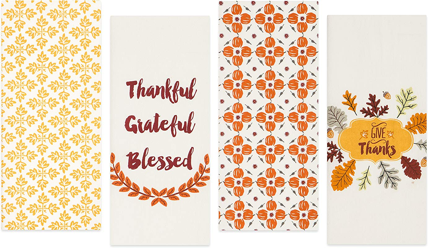 Sticky Toffee Cotton Harvest Flour Sack Kitchen Towels Pumpkin And Leaves Fall Prints 4 Pack 28 In X 29 In