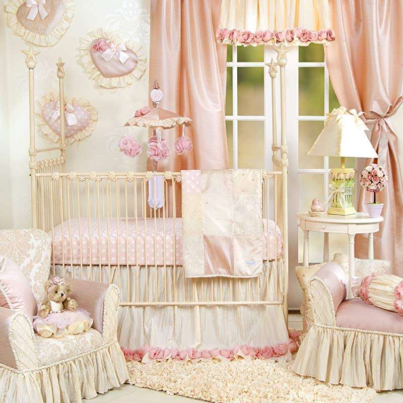 Crib Bedding Set By Glenna Jean Baby Girl Nursery Hand Crafted With Premium Quality Fabrics Includes Quilt Sheet And Bed Skirt With Pink And Ivory Accents