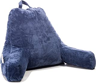 FavFactory Reading Pillow Arms & Pockets Sitting Up in Bed - Bedrest Chair Pillow Removable Cover & Shredded Memory Foam Back Support When Lounging (Navy Blue, Large)