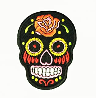 Patch Portal Black Mexican Sugar Skull Candy 3.5 Inches Biker Motorcycle Day of The Dead Aztec Orange Flower Embroidered I...