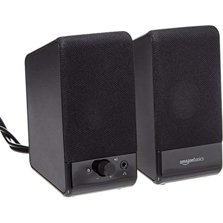 Amazon Basics Computer Speakers for Desktop or Laptop PC | USB-Powered, Black