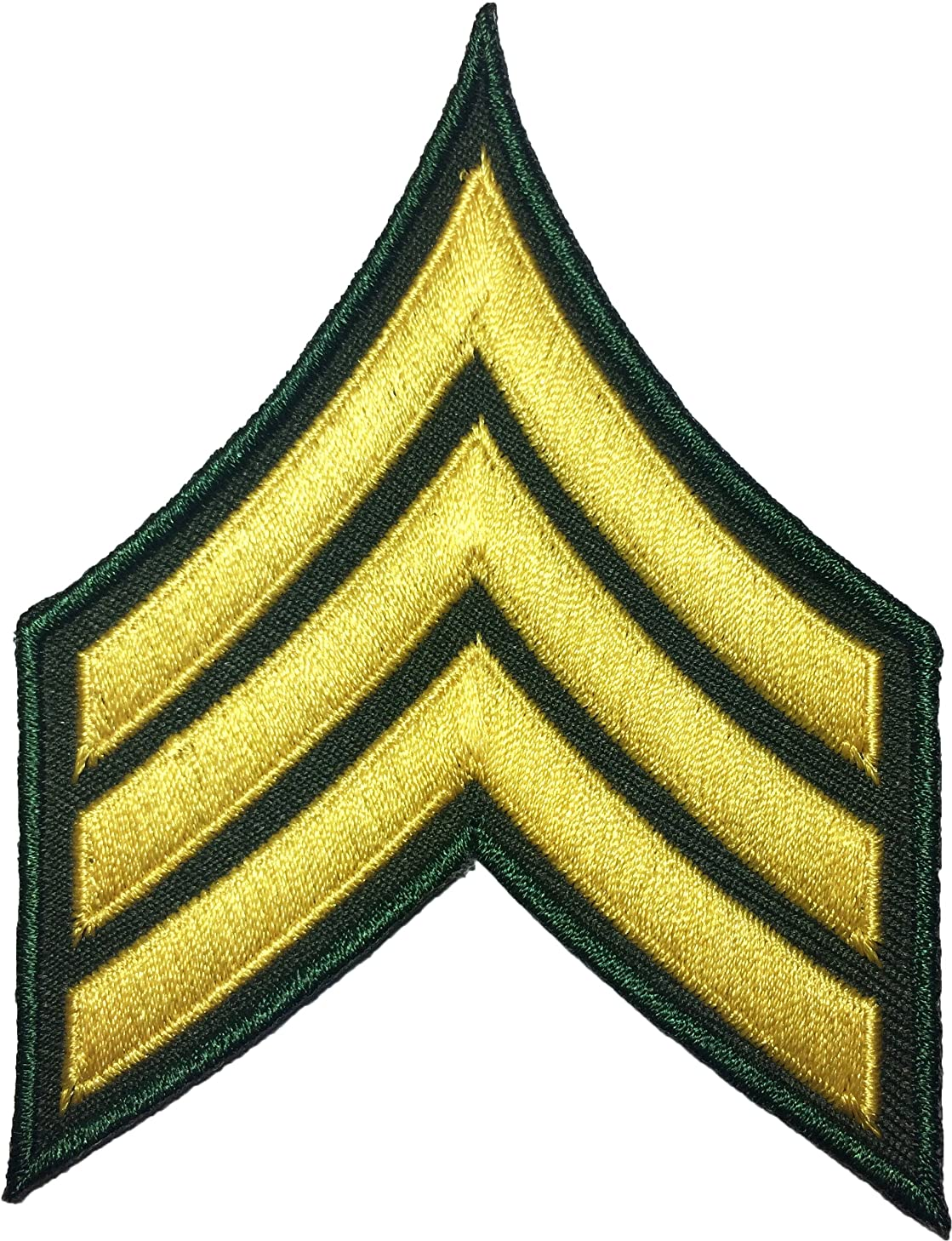 Papapatch Chevrons Sergeant E-5 Stripes US Army Rank Sew on Iron on Arms Shoulder Embroidered Applique Patch - Gold on Green (IRON-E5-OD-NBOR)