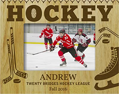 Ice Hockey Player Personalized Name Wood Sign Sports Rustic Wooden Decor