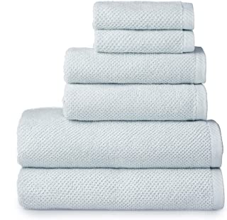 Welhome Franklin Premium 100% Cotton 6 Piece Towel Set   SkyBlue   Popcorn Textured   Highly Absorbent   Durable   Low Lin...