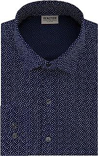 Kenneth Cole REACTION Men's Technicole Slim Fit Stretch Print Spread Collar Dress Shirt