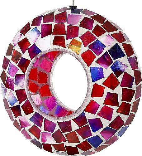 2021 Sunnydaze Hanging Bird Feeder - online sale Outdoor Round Decorative Birdfeeder with Fly-Through Opening and popular Crimson Glass Mosaic Design - Backyard, Deck and Porch Decor - 6-Inch outlet sale