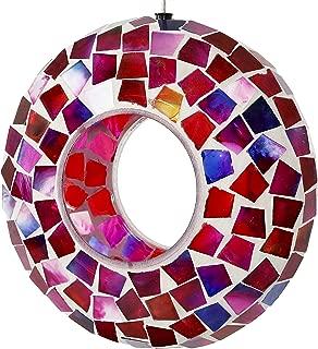 Sunnydaze Crimson Mosaic Fly-Through Bird Feeder, Unique Hanging Outdoor Decorative Glass, Round, 7-Inch