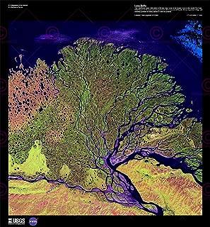 Doppelganger33LTD Science MAP Satellite Lena Delta River Siberia Russia Poster Print PAM1557