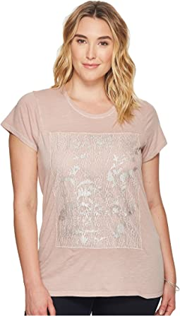 Plus Size Printed Lace Tee