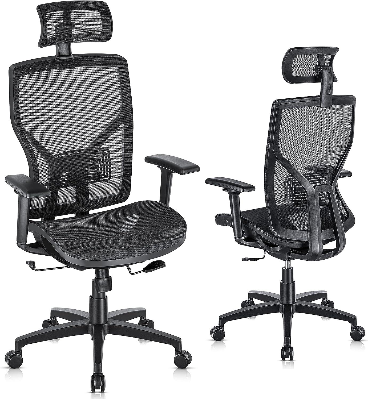 SUNNOW Ergonomic Office Chair, Mesh Desk Chair with Adjustable Lumbar Support, Sliding Seat, Headrest, 2D Armrest-High Back Swivel Task Chair for Home Office
