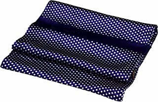 Navy Blue White Spotted Printed Double Layer Long Pure Silk Scarf
