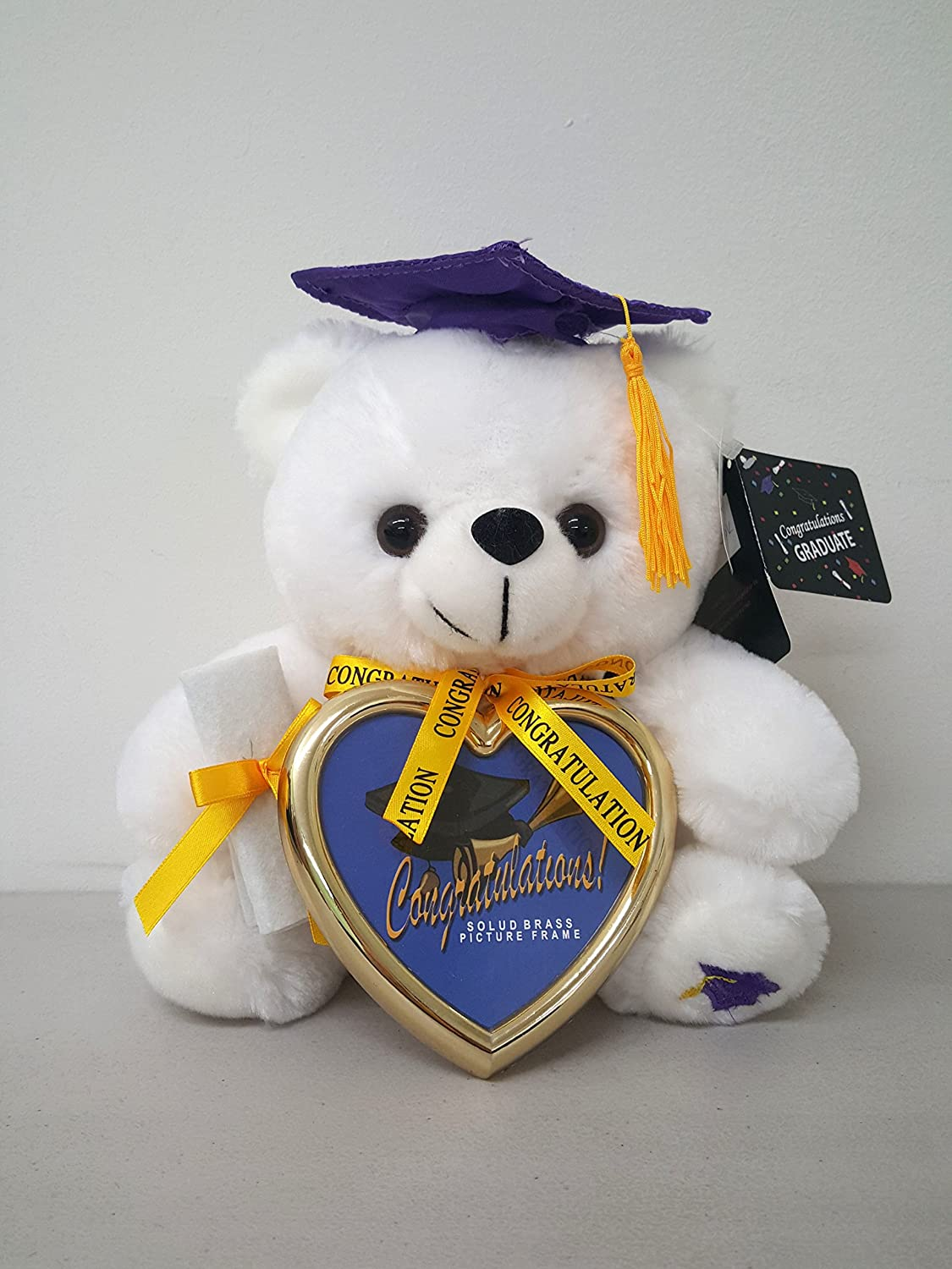 8 White Graduation Plush Teddy Bear with Blue Cap and Diploma in Hand Comes with a Heart Shaped Picture Frame Black