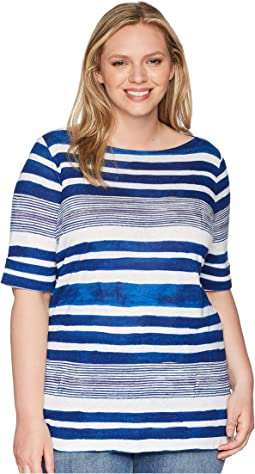 Plus Size Striped Boat Neck Top