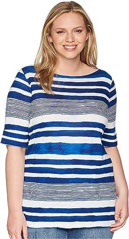 LAUREN Ralph Lauren Plus Size Striped Boat Neck Top