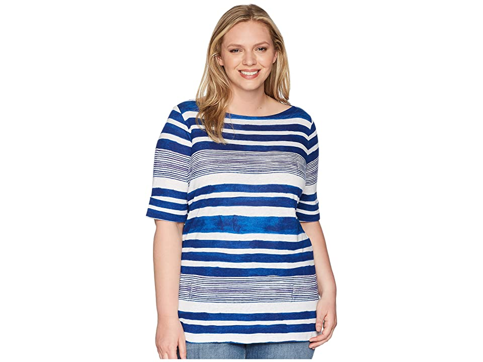 LAUREN Ralph Lauren Plus Size Striped Boat Neck Top (Multi) Women