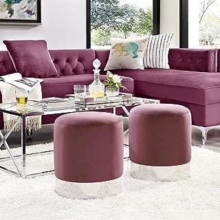 round pink velvet ottoman
