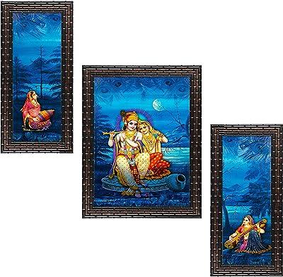 Indianara Set of 3 Radha Krishna Framed Art Painting (2463GB) without glass 6 X 13, 10.2 X 13, 6 X 13 INCH