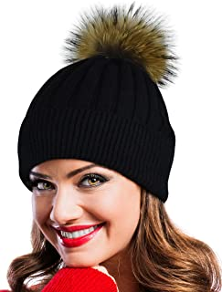 Winter Hat Beanie with Real Fur Pom Pom Decorations.
