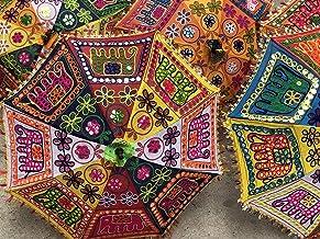 Sombrilla de Playa para Bodas con protección UV, Bordada, 30 Unidades, diseño Hippie Indio Textil