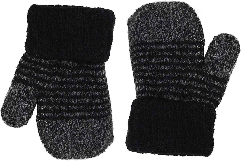 Kid's Cute Striped Warm Winter Mittens Magic Stretch Knit Fingerless Gloves