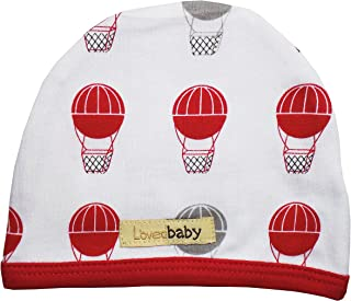 L'ovedbaby Unisex-Baby Organic Infant Cap (0-3 Months Red Hot Air Balloons)