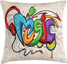 Ambesonne Music Throw Pillow Cushion Cover, Illustration of Graffiti Style Lettering Headphones Hip Hop Theme on Beige Bricks, Decorative Square Accent Pillow Case, 16
