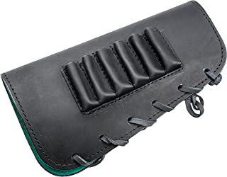 Buttstock shell holder, holds 6 rifle cartridges, genuine leather, right handed