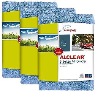 ALCLEAR Poliertücher 2 Seiten Allrounder für Auto Motorrad & Poliermaschine, Detailing Mikrofaser Poliertuch Set, 3er Set, saugstark 40x40 cm blau
