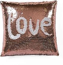 "Lush Decor Blush & White, 16"" X 16"" Mermaid Sequins Decorative Throw Pillow,"