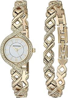 Armitron Women's 75/5412WTGPST Swarovski Crystal Accented Gold-Tone Watch and Bracelet Set
