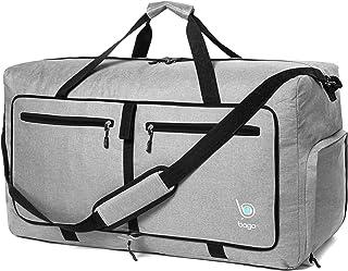 """Bago 80L Bolsa de viaje para mujeres y hombres – 27"""" Bolsa de viaje grande plegable bolsa de lona,SnowGrey, Large 27"""""""
