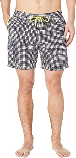 Houndstooth Printed Swim Trunks
