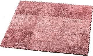 HemingWeigh Fuzzy Area Rug - 9 Fluffy Carpet Tiles for Kids - Ideal for Nursery Décor, Baby Room, Playroom and Kids Room. Plush, Velvet-Like Texture, Anti-Slip & Durable Rug (Pink)